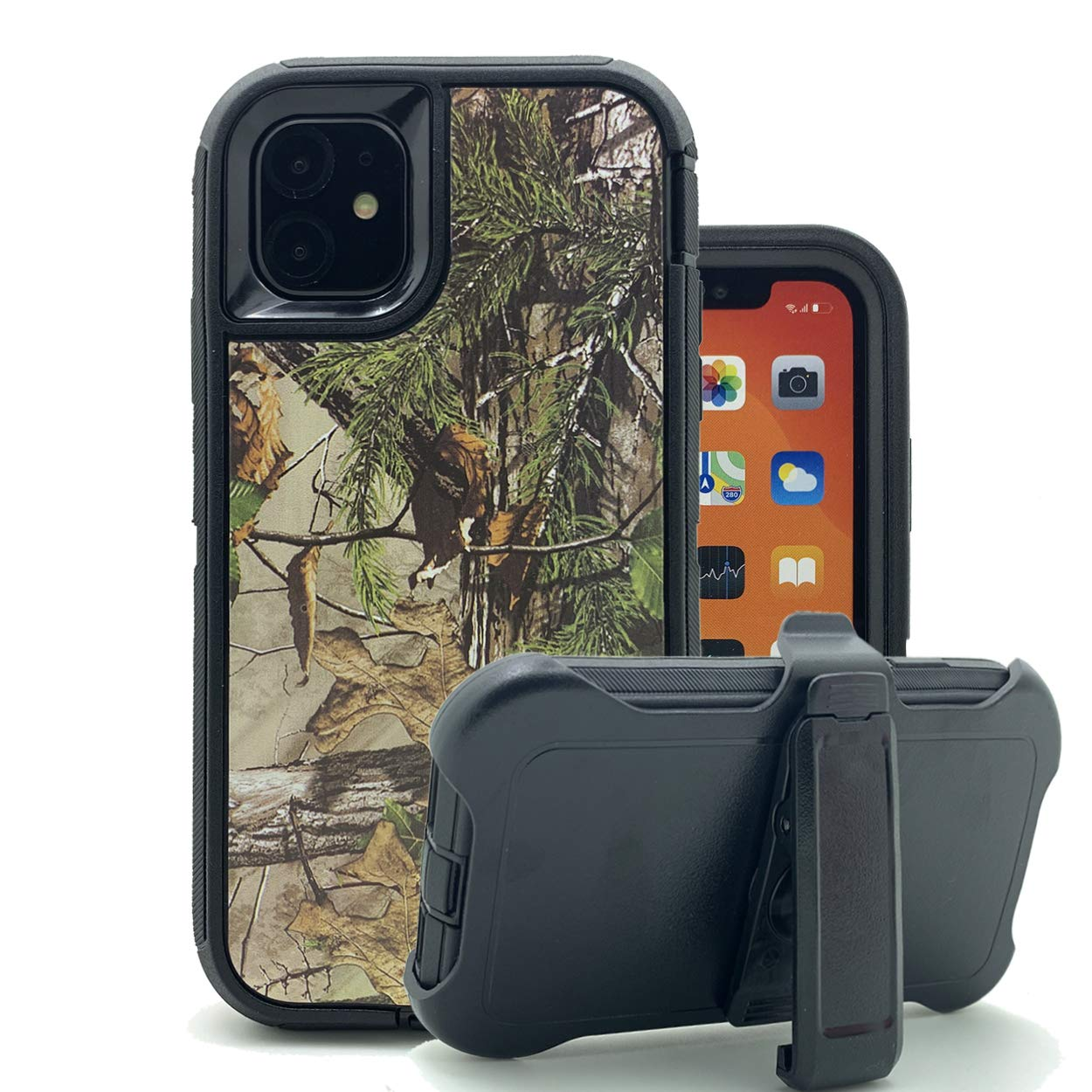 iPhone 11 Cover, Harsel Heavy Duty Scratch Resistant Defender Camouflage Hybrid Armor Military Grade Protection Shockproof Durable Case Shell with Belt Clip for iPhone 11 (Forest Black)
