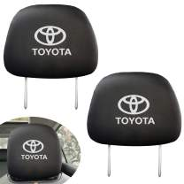 Set of 2 for Toyota Headrest Covers, Black Gray Fabric Universal Scalable Headrest Cover Set fits to Toyota Accessories…