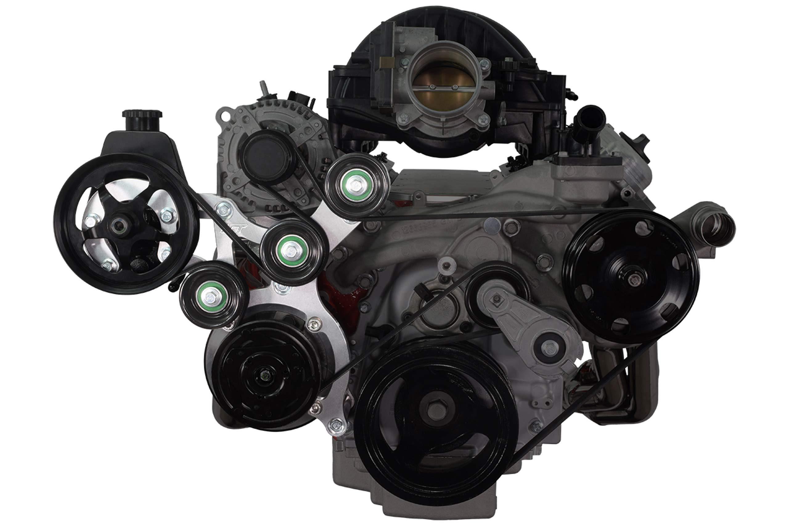 ICT Billet LT Gen V Swap C10 Truck Saginaw Power Steering & R4 A/C Compressor Bracket Kit Air Conditioner Compatible With L83 L86 Gen 5 V RPO Code Engines 551118-3