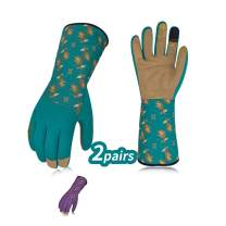 Vgo... 2Pairs Ladies' Synthetic Leather Long Cuff Rose Garden Gloves(Size M,Blue&Purple,SL7453)