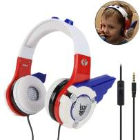 VCOM Kids Headphones, Over Ear Wired Boys Headsets with Volume Limited Hearing Protection Robot Design for Toddler Children 3.5mm Jack Compatible for iPad Kindle Smartphones Tablets Computers(Blue)