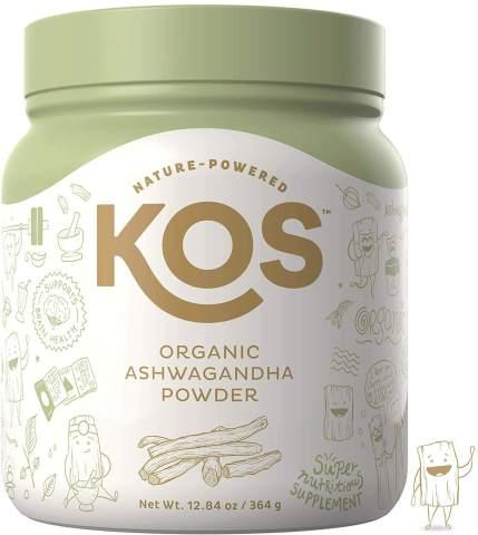 KOS Organic Ashwagandha Powder - Natural Anxiety Relief, Mood Enhancing Raw Ashwagandha Root Powder - USDA Organic, Mood Balancing, Immunity Enhancing Plant Based Ingredient, 364g, 104 Servings