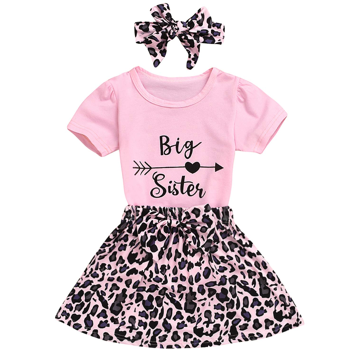 GRNSHTS Baby Girl Sister Matching Clothes Infant Little Sister Short Sleeve Romper+Leopard Shorts+Headband 3Pcs Outfits