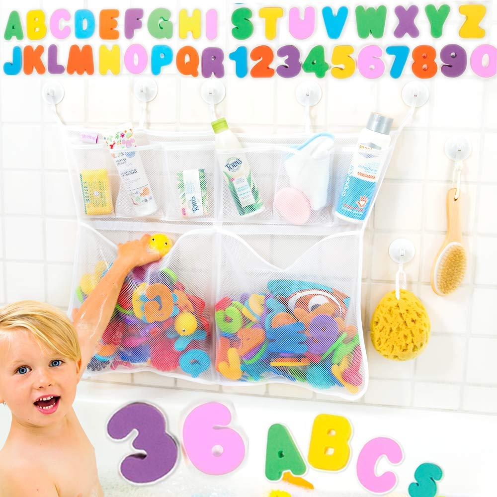 "Tub Cubby Bath Toy Organizer + 36 Foam ABC 123 Letters & Numbers + Baby Rubber Ducky - Mold Resistant 23x30"" Mesh Net 6 Divider Bins - Kids Bathtub Shower Caddy Storage Set 10 Suction & Sticker Hooks"