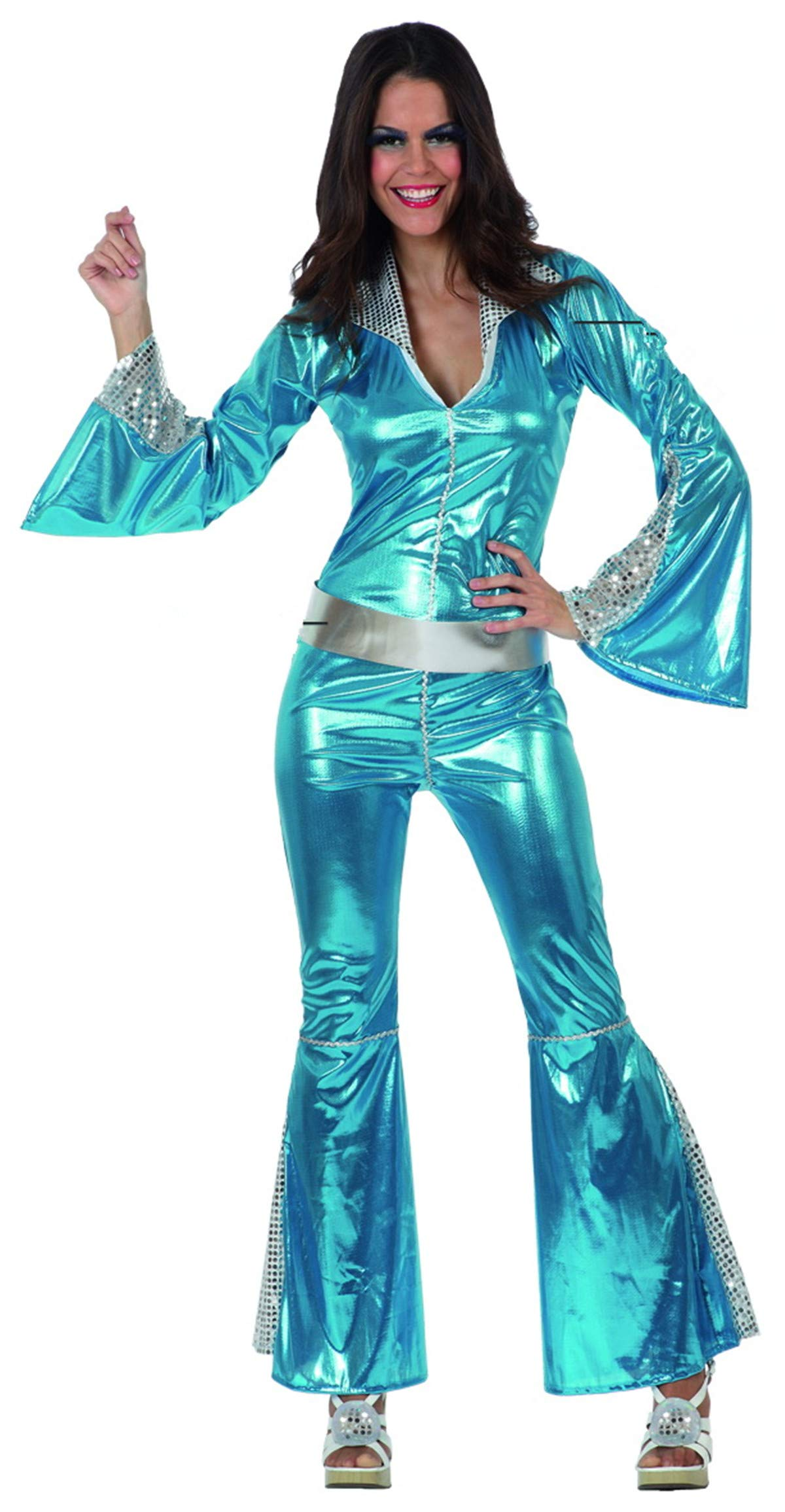 UrAmmi Way 60s Disco Costumes for Women Disco Jumpsuit Outfits Bling Bling Silver