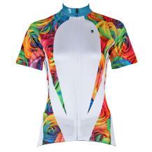 ILPALADINO Women's Cycling Jersey Short Sleeve Biking Shirts Flowers Rose White