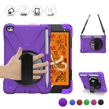 BRAECN iPad Mini 5 2019 Case for kids, Rugged Hybrid Armor Protective Case with Shoulder Strap,Hand Strap,Kickstand and Pencil Holder for iPad Mini 5/iPad Mini 4 7.9 Inch, [Pencil not Included]-Purple