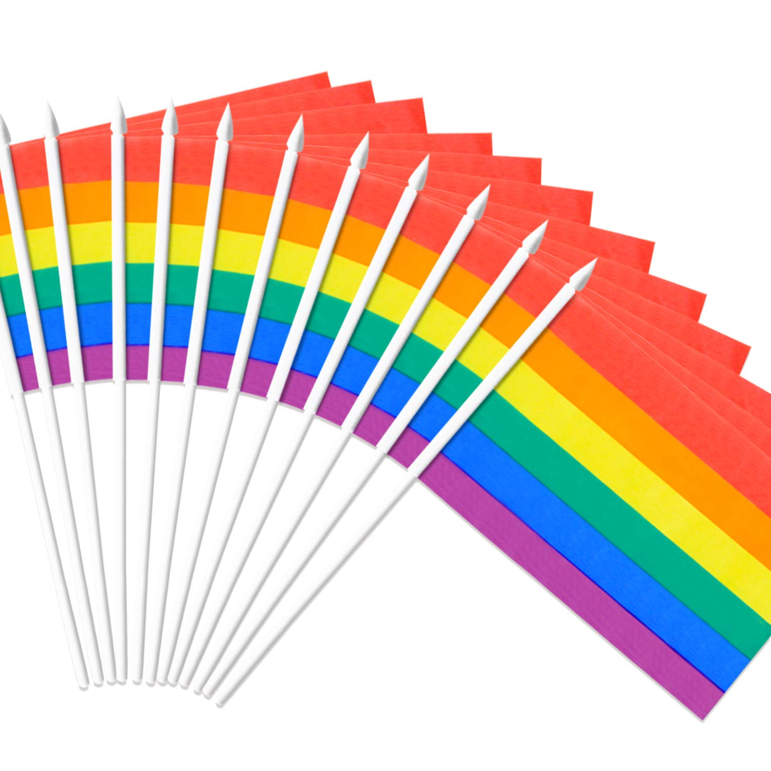 """Anley Rainbow Gay Pride Stick Flag, 5x8 inch Handheld Mini Flag with 12"""" White Solid Pole - Vivid Color and Fade Resistant - LGBT 5 x 8 inch Hand Held Flags with Spear Top (1 Dozen)"""