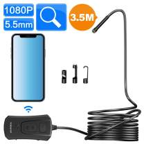 Wireless Endoscope Camera, TODSKOP 5.5mm WiFi Borescope 1080P Semi-Rigid IP67 Waterproof Inspection Camera, 2.0MP HD Snake Pipe Camera 1800mAh Battery for Android and iOS iPhone, Tablet (11.5FT)