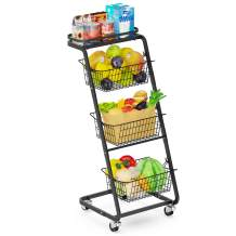 Fruit Basket, Veckle 4 Tier Rolling Wire Market Basket Stand with Wheels, Removable Metal Wire Baskets, Basket Tower Fruit Basket Stand for Kitchen Floor Bathroom Pantry Living Room