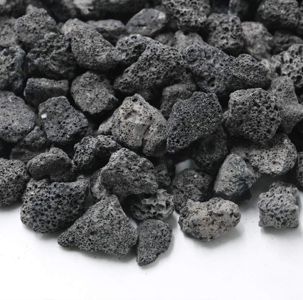 Skyflame Black Natural Stones Lava Rock Granules for Gas Fire Pit | Fireplace | Gas Log Set | BBQ Grill | Garden Landscaping Decoration | Cultivation of Potted Plants | Indoor Outdoor Use (10-lb Bag)