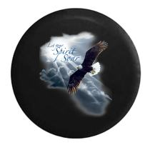 Let Your Spirit Soar - Soaring American Bald Eagle in The Night Sky Spare Tire Cover (Fits: Jeep Wrangler Accessories or SUV Camper RV) Black 35 in