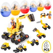 6 PCS Easter Eggs Filled with Building Blocks Construction Vehicles Toys to Build Forklift, Crane, Bulldozer, Excavator Car Educational Toys Great as Party Supplies , Easter Basket Fillers for Boys