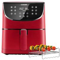 COSORI Air Fryer(100 Recipes, Rack & 4 Skewers),3.7QT Electric Hot Air Fryers Oven Oilless Cooker,11 Presets,Preheat& Shake Reminder, LED Touch Digital Screen,Nonstick Basket,1500W,Red