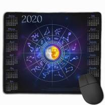 COWDIY Durable Mouse Pad, 2020 Calendar Twelve Constellations Non-Slip Rubber Base, Water-Resistant, Stitched Edge Mouse Mat for Laptop, Computer, PC (2020 Calendar Twelve Constellations)