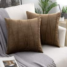 Woaboy Pack of 2 Striped Velvet Throw Pillow Covers Modern Decorative Solid Cushion Covers Pillowcases Square Soft Cozy for Bed Sofa Couch Car Living Room 22x22inch 55x55cm Brown