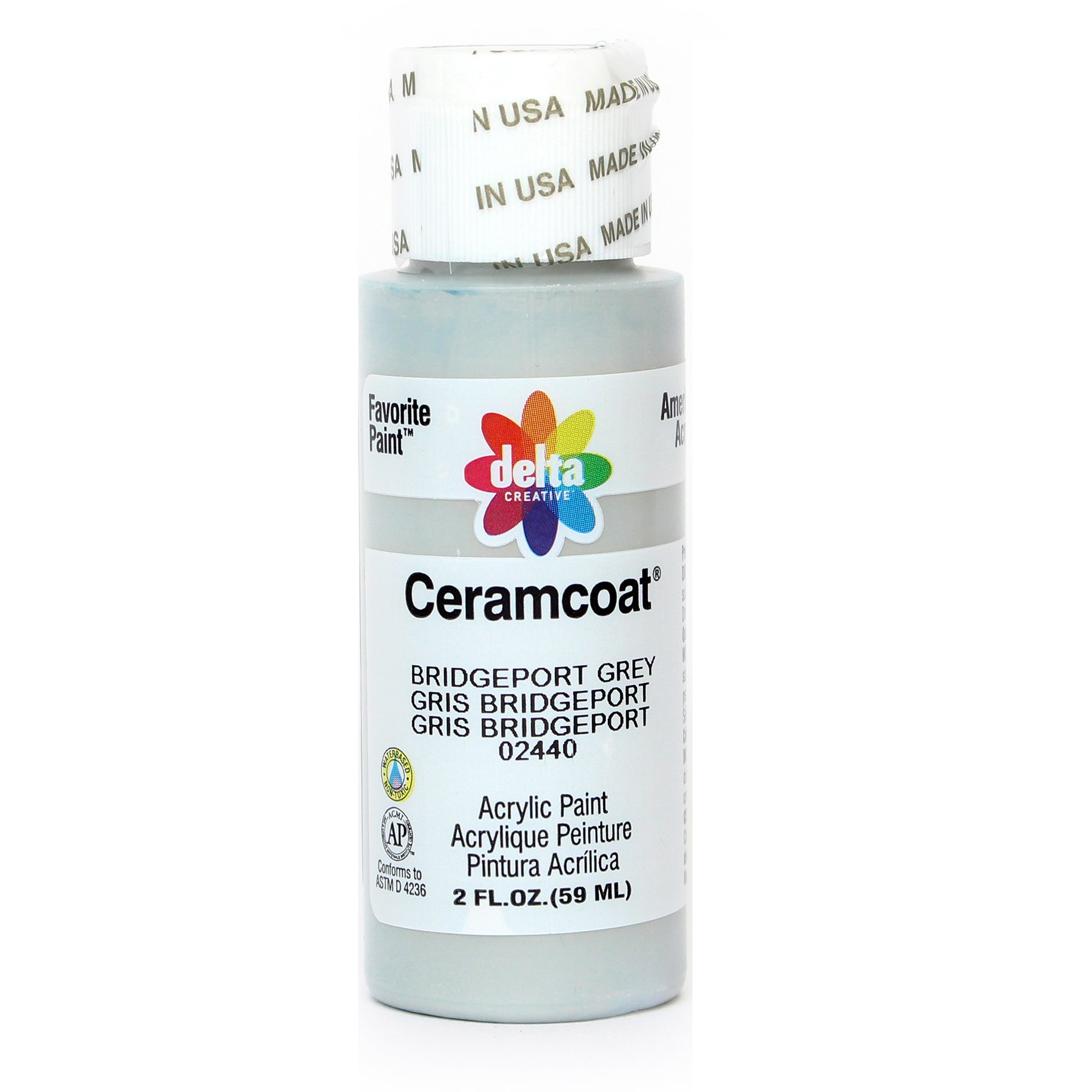 Delta Creative Ceramcoat Acrylic Paint in Assorted Colors (2 oz), 2440, Bridgeport Grey