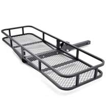 """Folding Cargo Carrier Luggage Basket Extra-Thick Steel Shank Hitch Mount Cargo Basket 67"""" L x 20"""" W x 7"""" H w/500 LB Capacity Fits 2"""" Camp Travel Receiver Universal for Cars Trucks SUV's Hatchbacks"""