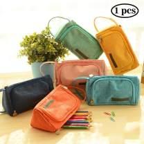 Samaz Pen Bag Pencil Case Large Capacity Canvas Pencil Bag Pouch Stationary Case Makeup Cosmetic Bag (Blue-Violet Color)