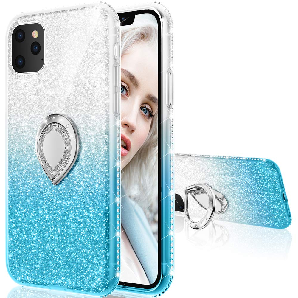 Maxdara Case for iPhone 11 Pro Case Glitter Ring Kickstand Case for Girls Women with Bling Sparkle Diamond RhinestoneStand Holder Protective Case for iPhone 11 Pro 5.8 inches(Silver Teal)