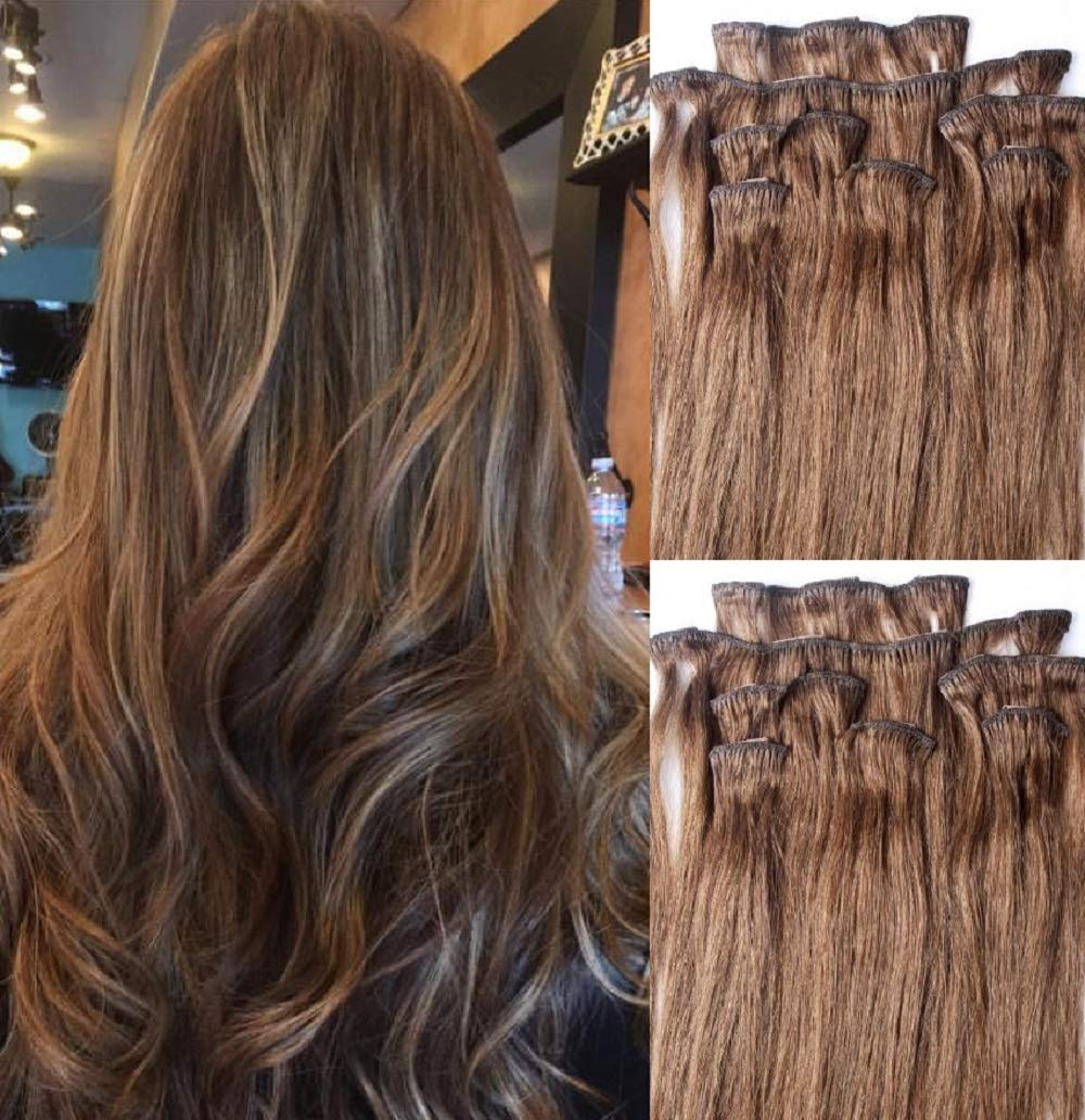 """Hair Faux You 24"""" Clip in Hair Extensions Real Human Hair 100g Clip on for Full Head 7 pieces, 14 clips, Silky Straight Weft Remy Hair Color # 6 Med Chestnut Brown"""