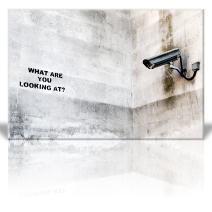 wall26 - Canvas Print Wall Art - What are You Looking at? - Street Art - Surveillance Camera - Guerilla - Banksy Street Artwork on Canvas Stretched Gallery Wrap. Ready to Hang - 16 x 24 inches