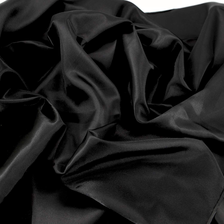 "Satin Fabric Black Color for Wedding Dress Decoration DIY Crafts 60"" by 10 Yards"