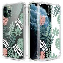 Caka Clear Case for iPhone 11 Pro Max Floral Clear Case Flower Pattern Design Girly Women Girls Cute Slim Soft TPU Transparent Shockproof Protective Case for iPhone 11 Pro Max (Tropical Leaves)