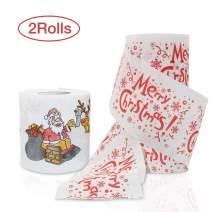 HOFASON Christmas Toilet Paper 2 Rolls - Real Toilet Paper / Funny Christmas Decoration - Happy New Year Santa - Novelty Joke Humor Gag