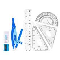 Deli 8 Pieces Compass Set, Math Geometry Kit Set for Students, Includes Rulers, Set Squares, Protractor, Compass, Pencil, Pencil Sharpener, Eraser, Blue