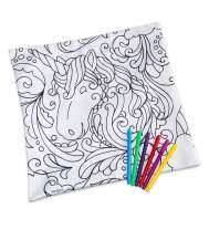 HearthSong Color Pops Color-Your-Own-Pillow Kit - Machine Washable - Includes Pillow Insert & Markers - 15'' Sq