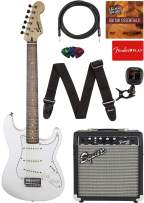 """Fender Squier Short Scale (24"""") Stratocaster Learn-to-Play Bundle with Frontman 10G Amp, Cable, Tuner, Strap, Picks, Fender Play Online Lessons, and Austin Bazaar Instructional DVD - Olympic White"""
