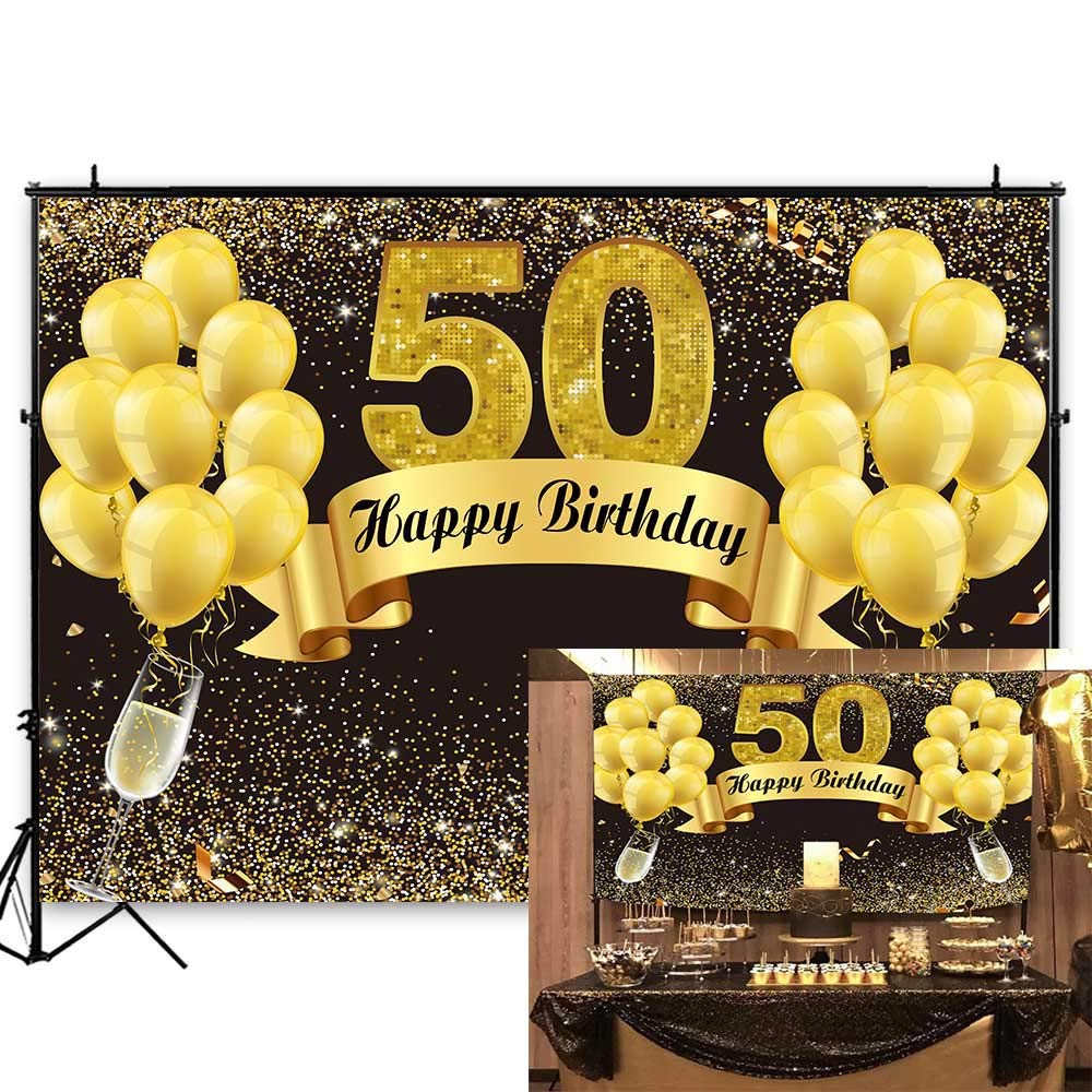 Funnytree 7X5FT Durable Fabric Glitter Gold and Black Happy 50th Birthday Backdrop Golden Fifty Years Old Photography Backgound for Adult Birthday Party Supplies Decoration Photobooth Props