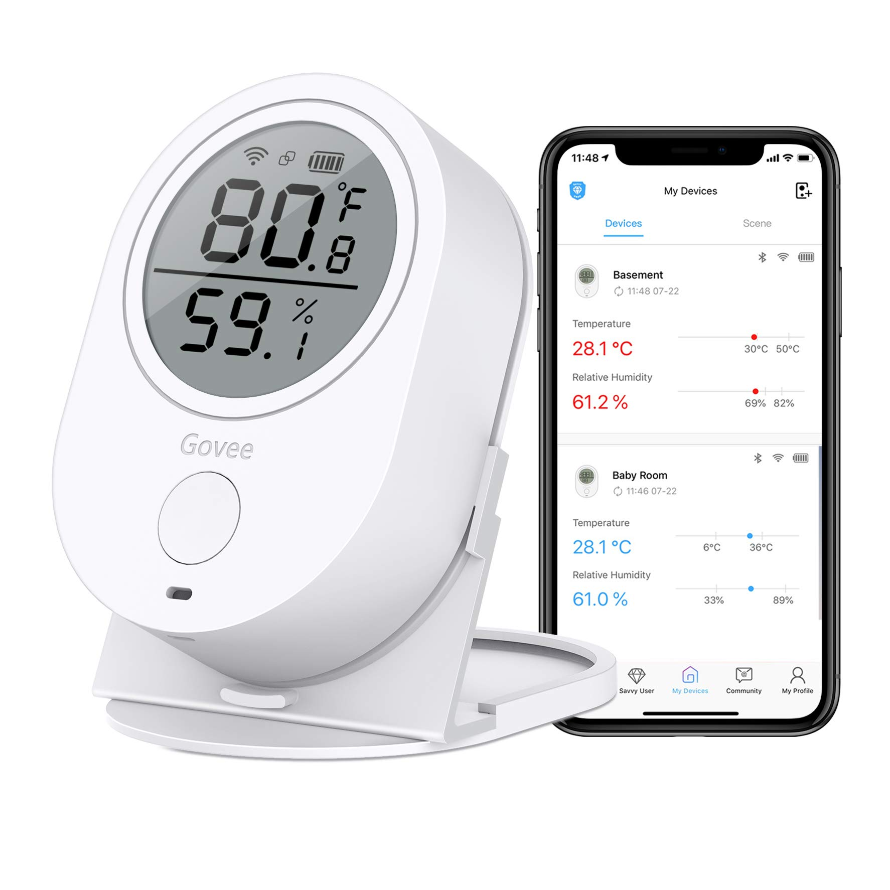 Govee WiFi Temperature Humidity Monitor, Wireless Digital Indoor Hygrometer Thermometer with App Alerts, Temperature Sensor Humidity Gauge for Home Pet Garage Cigar Humidor [Don't Support 5G WiFi]