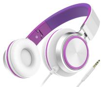 Girls Headphones, Honstek Foldable Lightweight On Ear Headphones for Kids Girls Boys, Wired Stereo Comfortable Headset Compatible with iPhone iPad PC Xbox Tablets MP4 (White/Purple)