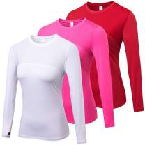 LEICHR 3 Pack Workout Tops for Women Long Sleeve, Dry Fit Sports Compression Shirts, Professional Running Workout T-Shirts