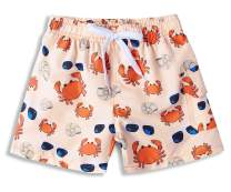 BFUSTYLE 4T Toddler Baby Boys Sun Protection Waterproof Polyester Swim Trunks Orange Beige Crab Glasses Boy Shorts Rash Guard for Summer Hawaiian Vacation Beach