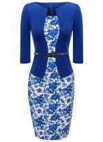 HIKA Women's 3/4 Sleeve Plaid Work Business One-Piece Knee Length Pencil Dress