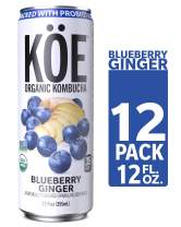 KÖE Organic Kombucha Cans, Blueberry Ginger, 12 Ounces, Pack of 12