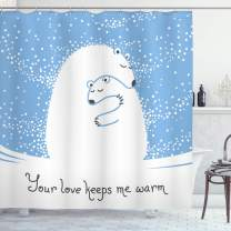 "Ambesonne Animal Shower Curtain, Mother Polar Bear Hugging Her Baby in The Snow North Winter Love Keeps Warm Art, Cloth Fabric Bathroom Decor Set with Hooks, 84"" Long Extra, Blue White"