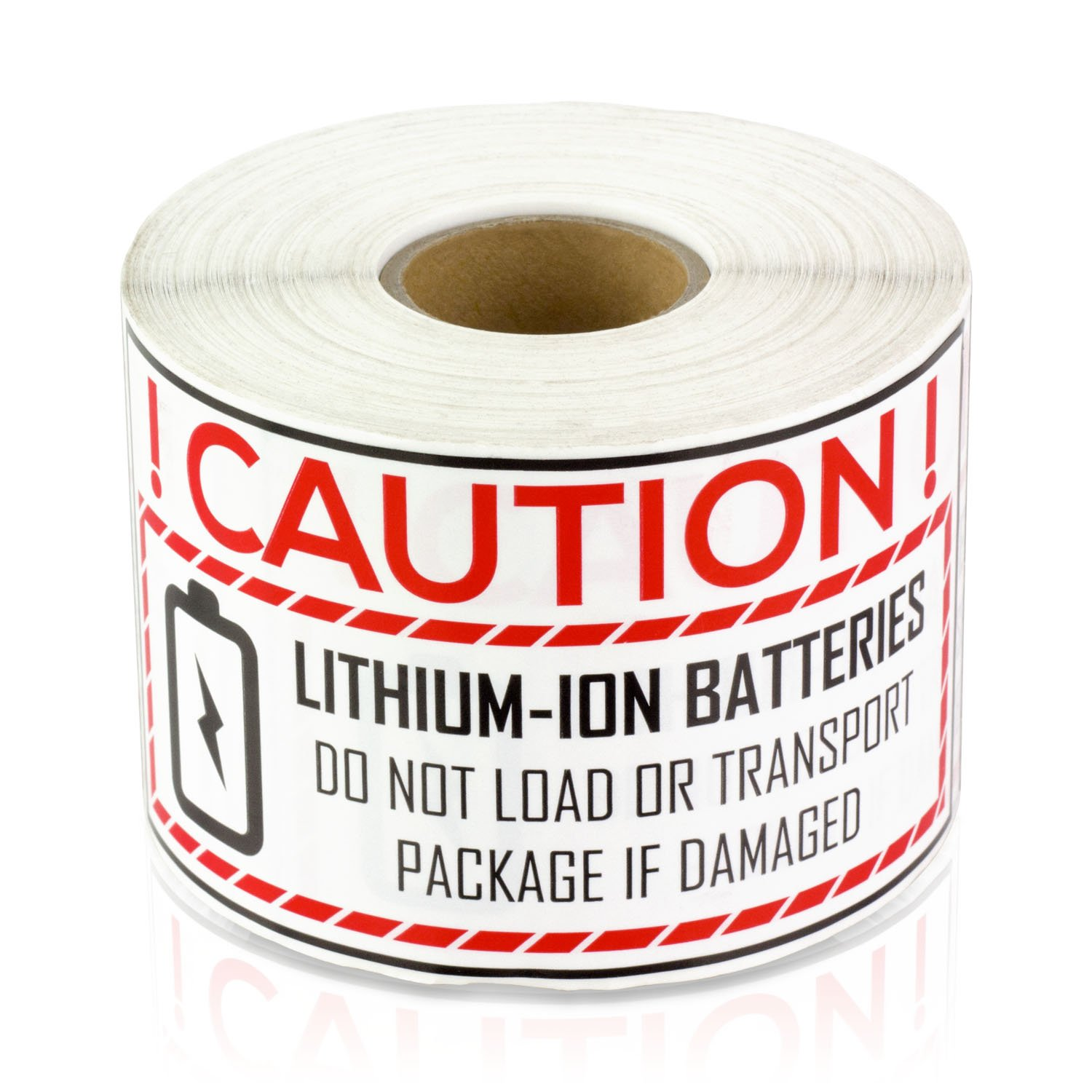 """OfficeSmartLabels Lithium Ion Battery Caution Handling 2"""" x 4"""" LabelsSticker (300 Labels per roll / 1 roll)"""