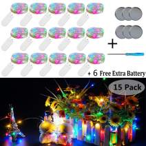 Fairy String Lights, 15 Pack 20 LED Fairy Lights Battery Operated Sliver Wire Lights + 6 PCS Extra Replacement Batteries with Starry Jar Lights for DIY Party Wedding Decorations (Multi Color)
