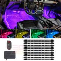 LEDGlow 12pc Million Color Multi-Color LED Interior Footwell Underdash Lighting Kit for Cars & Trucks - 18 Solid Colors - 10 Unique Patterns - Music Mode - Includes Control Box & Remote - Universal