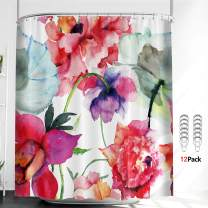 Riyidecor Watercolor Floral Shower Curtain Thicken Heavy Duty Colorful Flower 12 Pack Metal Shower Hooks Peony Red White Decor Set Chinese Style Rustic Rural Country Fabric Bathroom 72x72 Inch