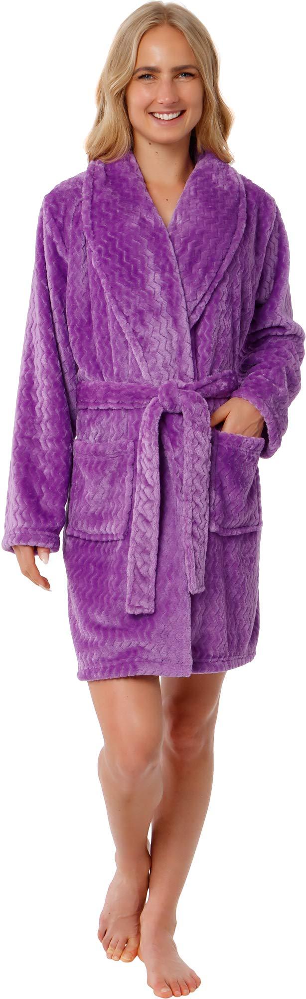 Silver Lilly Women's Embossed Robe - Plush Fleece Chevron Coral Textured Short Kimono Bathrobe