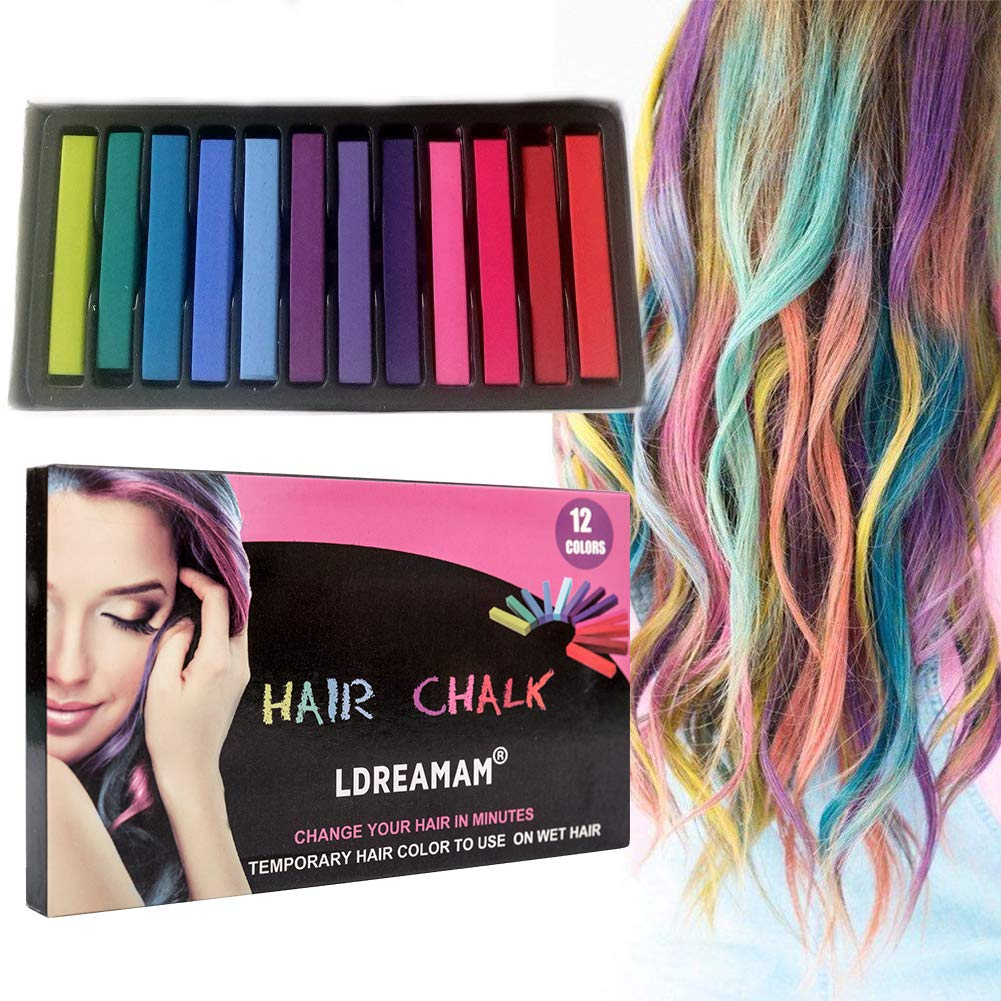 Hair Chalk, 12 Colors Hair Chalk Pens,Chalk Hair Dye,Colored Hair Chalks for Party, Cosplay, Theater, Halloween Makeup