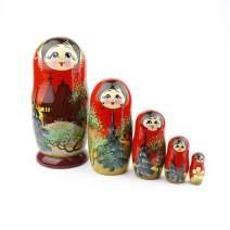 Heka Naturals Russian Nesting Dolls, 5 Traditional Matryoshka Church Style | Babushka Wooden Dolls, Temple Design, Hand Made in Russia | Church, 5 Piece, 7 inches