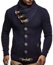 JEKAOYI Mens Cable Knit Button Down Sweater Cowl Neck Casual Long Sleeve Basic Cardigan Jumper