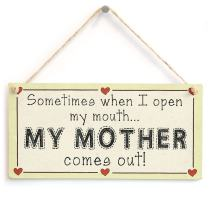 """Meijiafei Sometimes When I Open My Mouth My Mother Comes Out! - Funny Mother Gift Love Heart Frame Sign 10""""x5"""""""