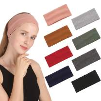 Folora 8 PCS Soft Knitted Cotton Elastic Headbands Yoga Running Sports Facial Hair Bands for Women Girls